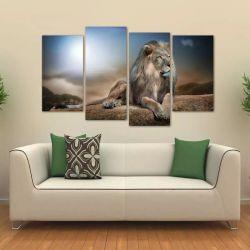 Quadro Decorativo Leão Animais Paisagem Em Tecido 4 Peças 1 140 x 80 cm