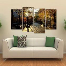 Quadro Decorativo Interiores Paisagem Toronto Tecido 4 Peças