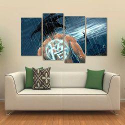Quadro Decorativo Goku Sala Quarto Em Tecido 4 Peças  140 x 80 cm