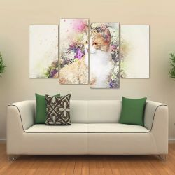 Quadro Decorativo Gato Artístico Quarto Em Tecido 4 Peças 1R  140 x 80 cm