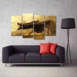 Quadro Decorativo Game Of Thrones Drogon Em Tecido 4 Peças 1    140 x 80 cm
