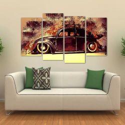 Quadro Decorativo Fusca Vintage Em Tecido 4 Peças   140 x 80 cm
