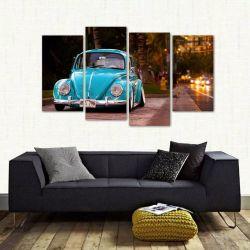 Quadro Decorativo Fusca Azul Vintage Sala Em Tecido 4 Peças   140 x 80 cm