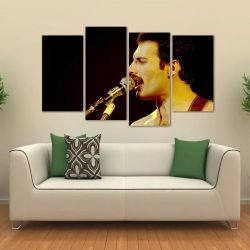 Quadro Decorativo Freddie Mercury Sala Em Tecido 4 Peças 1Re   140 x 80 cm