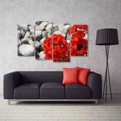 Quadro Decorativo Flores Vermelha Sala Em Tecido 4 Peças 1Re   140 x 80 cm