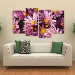 Quadro Decorativo Flores Rosas Sala Em Tecido 4 Peças  140 x 80 cm
