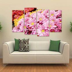 Quadro Decorativo Flores Rosa Mosaico Em Tecido 4 Peças 1Res   140 x 80 cm