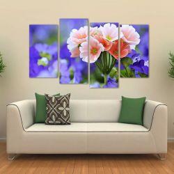 Quadro Decorativo Flores Escritório Em Tecido 4 Peças   140 x 80 cm