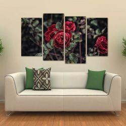 Quadro Decorativo Flor Vermelha Sala Em Tecido 4 Peças 1Resu   140 x 80 cm