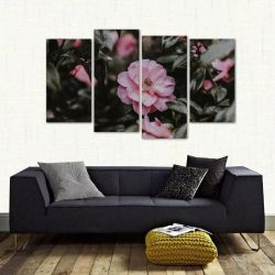 Quadro Decorativo Flor Rosa Sala Quarto Em Tecido 4 Peças 1R   140 x 80 cm