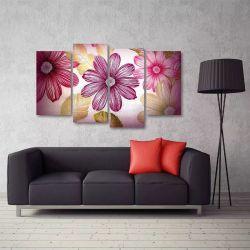 Quadro Decorativo Flor Rosa Mosaico Em Tecido 4 Peças  140 x 80 cm