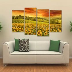 Quadro Decorativo Flor Girassol Paisagem Em Tecido 4 Peças 1   140 x 80 cm