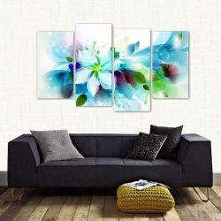 Quadro Decorativo Flor Azul Mosaico Em Tecido 4 Peças 140 x 80 cm