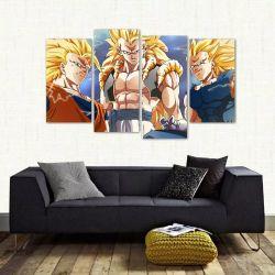Quadro Decorativo Dragon Ball Sala Mosaico Em Tecido 4 Peças   140 x 80 cm