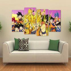 Quadro Decorativo Dragon Ball Mosaico Sala Em Tecido 4 Peças   140 x 80 cm
