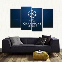 Quadro Decorativo Champions League Mosaico Em Tecido 4 Peças   140 x 80 cm