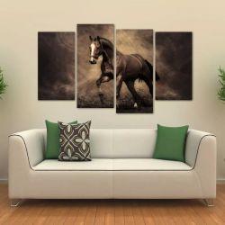 Quadro Decorativo Cavalo Preto Sala Quarto Em Tecido 4 Peças   140 x 80 cm