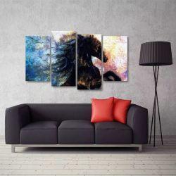 Quadro Decorativo Cavalo Preto Escritório Em Tecido 4 Peças   140 x 80 cm