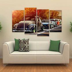 Quadro Decorativo Carros Vintage Mosaico Em Tecido 4 Peças 1   140 x 80 cm