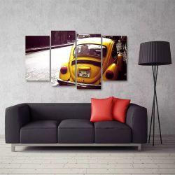 Quadro Decorativo Carro Fusca Amarelo Mosaico Tecido 4 Peças   140 x 80 cm