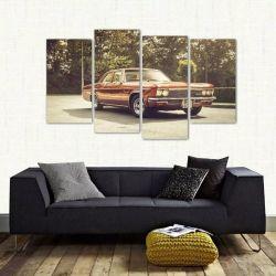 Quadro Decorativo Carro Antigo Vintage Em Tecido 4 Peças 1Re   140 x 80 cm