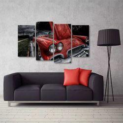 Quadro Decorativo Carro Antigo Vermelho Em Tecido 4 Peças 1R   140 x 80 cm