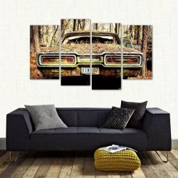 Quadro Decorativo Carro Antigo Mosaico Em Tecido 4 Peças 1Re   140 x 80 cm