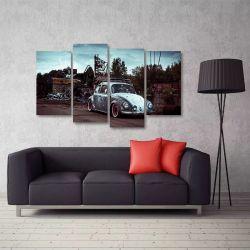 Quadro Decorativo Carro Antigo Fusca Sala Em Tecido 4 Peças   140 x 80 cm