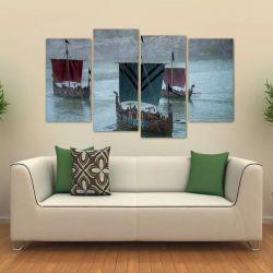 Quadro Decorativo Barco Da Série Vikings Sala Tecido 4 Peças   140 x 80 cm