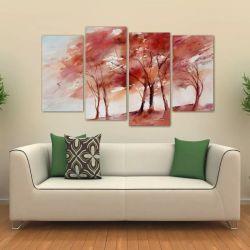 Quadro Decorativo Árvores Vermelhas Sala Em Tecido 4 Peças 1   140 x 80 cm