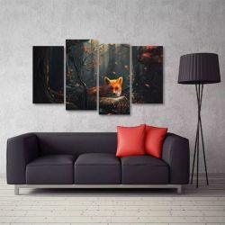 Quadro Decorativo Artístico Raposa Mosaico Em Tecido 4 Peças   140 x 80 cm