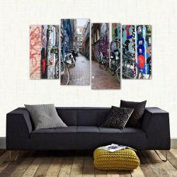 Quadro Decorativo Amsterdã Beco Paisagem Em Tecido 4 Peças 1   140 x 80 cm
