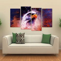Quadro Decorativo Águia Artístico Mosaico Em Tecido 4 Peças   140 x 80 cm