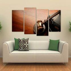 Quadro Decorativo Advocacia Martelo De Juiz Tecido 4 Peças 1   140 x 80 cm