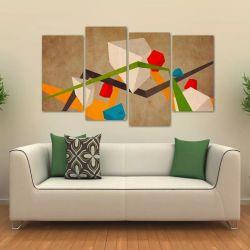 Quadro Decorativo Abstrato Sala Escritório Em Tecido 4 Peças   140 x 80 cm