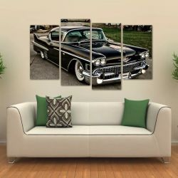 Quadro Carro Cadillac Deville Coupe 1954 Em Tecido 4 Peças 1   140 x 80 cm