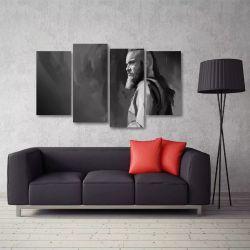 Quadro Artístico Série Vikings Ragnar Em Tecido 4 Peças 1Res   140 x 80 cm