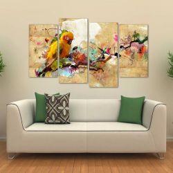 Quadro Artístico Passarinho Colorido Em Tecido 4 Peças 1Resu   140 x 80 cm