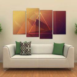 Quadro Abstrato Triângulo Sala Escritório Em Tecido 4 Peças   140 x 80 cm