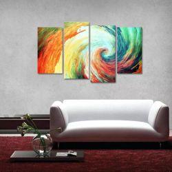 Quadro Abstrato Tornado Colorido Escritório Tecido 4 Peças 1   140 x 80 cm