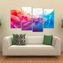 Quadro Abstrato Sala Escritório Colorido Em Tecido 4 Peças 1   140 x 80 cm