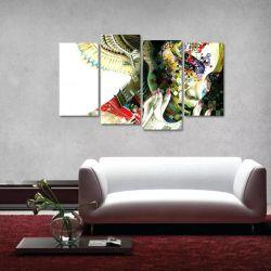 Quadro Abstrato Mulher Colorida Escritórios Tecido 4 Peças 1   140 x 80 cm