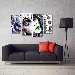 Quadro Abstrato Mulher Artístico Sala Em Tecido 4 Peças 1Res   140 x 80 cm