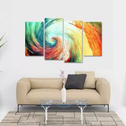 Quadro Abstrato Moderno Tornado Escritório Tecido 4 Peças 1R   140 x 80 cm