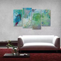 Quadro Abstrato Moderno Colorido Escritórios Tecido 4 Peças   140 x 80 cm