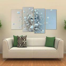 Quadro Abstrato Artístico Moderno Sala Em Tecido 4 Peças 1R   140 x 80 cm