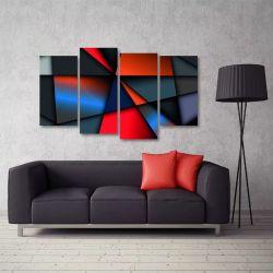 Quadro Abstrato Formas Geométricas Escritório Tecido 4 Peças   140 x 80 cm