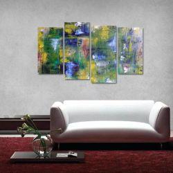 Quadro Abstrato Colorido Moderno Escritórios Tecido 4 Peças   140 x 80 cm