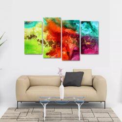 Quadro Abstrato Colorful Escritórios Em Tecido 4 Peças 1Res   140 x 80 cm