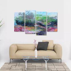 Quadro Abstrato Campo Paisagem Escritórios Em Tecido 4 Peça   140 x 80 cm